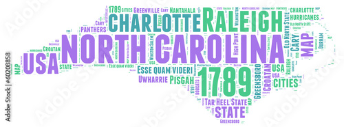 North Carolina USA state map tag cloud