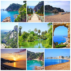 Collage of summer images. Nature and travel background. Spain