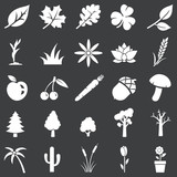 vector set of white plants icons