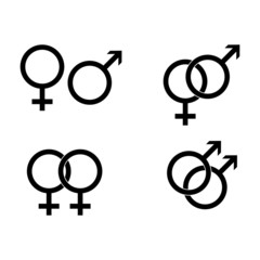 Male and female symbols - vector