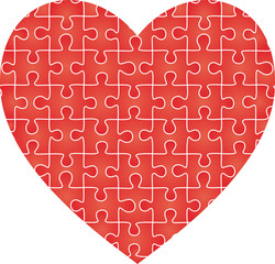 Puzzle heart pattern. Vector