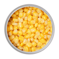 corn in can on a white background