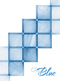 Card with abstract blue grid on a white backgdound