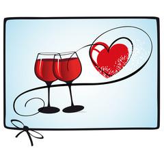 Weinglas mit rotem Herz und Rahmen Scribble