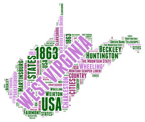 West Virginia USA state map tag cloud