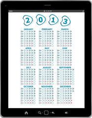 Calendar for 2013 in tablet PC isolated on white background