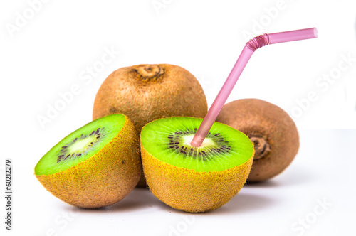 kiwi juice on white background