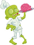 Cartoon zombie chef serving a brain