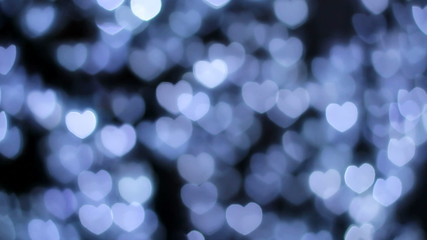 defocused lights in the shape of hearts
