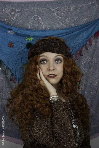 Beautiful young woman dressed as a gypsy