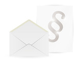 envelope and paper with paragraph