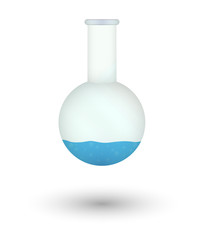 flask with blue fluid
