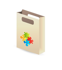 paper bag with puzzle symbols