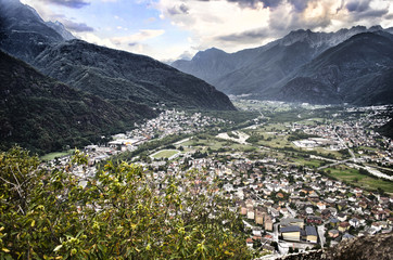 View of Valchiavenna valley, in northern Italy