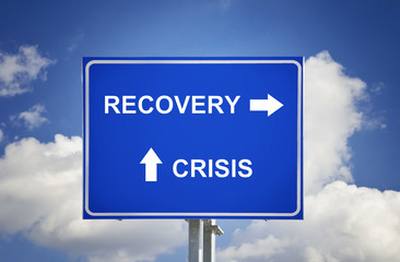 Road Sign The End Of Crisis, Economic Recovery
