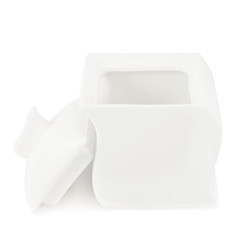 White ceramic sugar-bowl isolated
