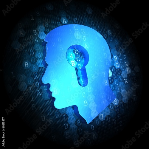 Head with a Keyhole Icon on Digital Background.