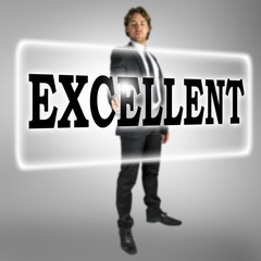 The word Excellent on a virtual interface