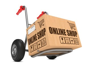 Online Shop - Cardboard Box on Hand Truck.