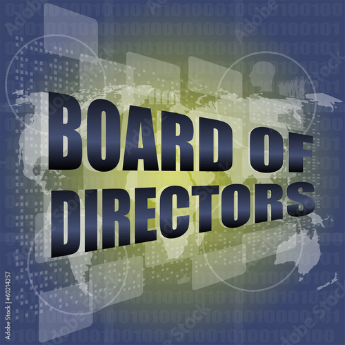 board of directors words on digital screen background, world map