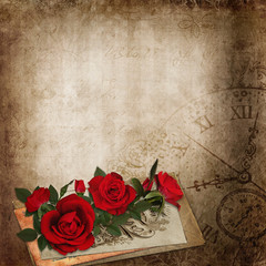 Red roses, old letters on the vintage shabby background