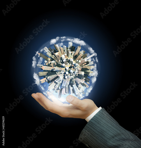 Cyti world on businessman hand