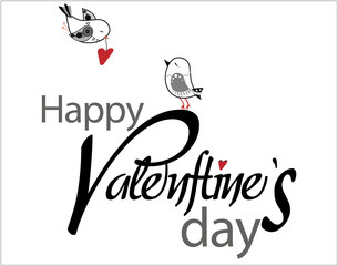 Valentine's Day type text with two birds and hearts