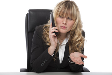 Confused businesswoman asking for clarity