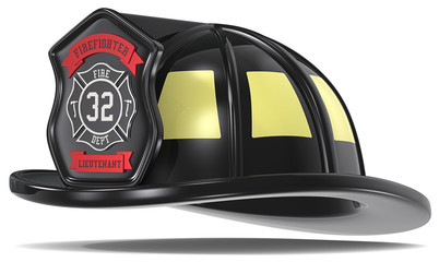 US Firefighter Helmet. Black with badge. Isolated.