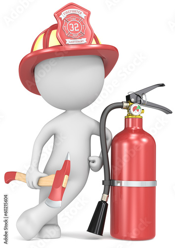 Dude the Firefighter holding an axe and fire extinguisher