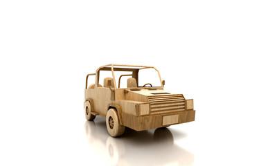 Automobile stilizzata di legno, assicurazioni, ecologia