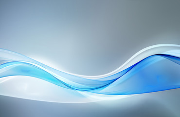 Abstract light blue waves on grey background