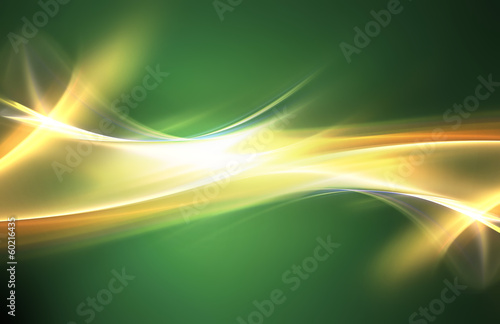 Awesome bright waves on green background
