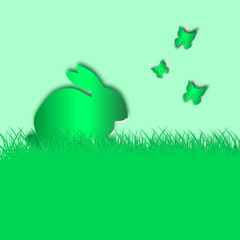 Ostern - Häschen im Gras mit Schmetterlingen