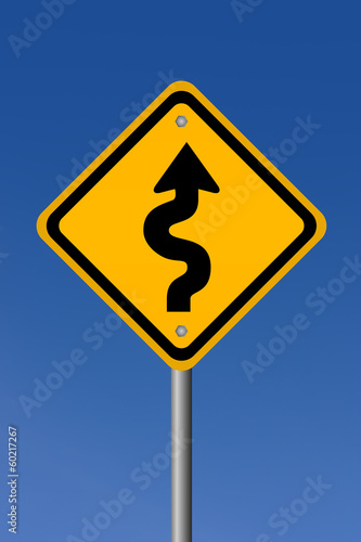 Curvy road sign