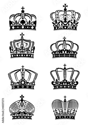 Set of vintage heraldic royal crowns