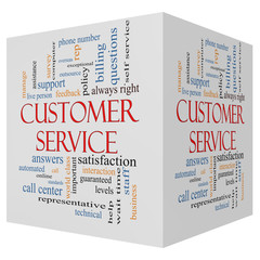 Customer Service 3D cube Word Cloud Concept