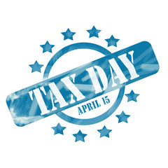 Blue Weathered Tax Day April 15th Stamp Circle and Stars design
