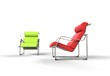 Bright Green And Red Modern Armchairs