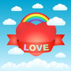 Big love heart in the sky