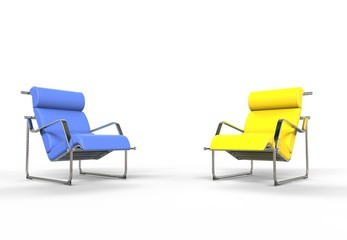 Bright Blue And Yellow Armchairs