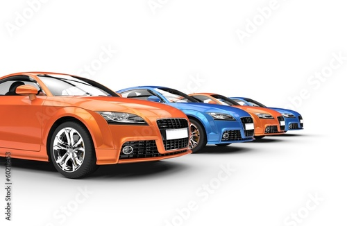 Row Of Blue And Orange Cars