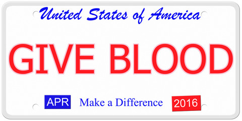 Give Blood License Plate