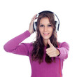 Entertaining girl with headphones listening to music