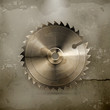 Circular saw blade, old style vector