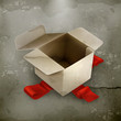 White cardboard box, old style vector