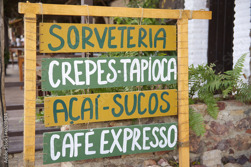 Handrwritten Sign Advertising Brazilian Snacks Food