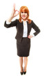 Full length happy businesswoman. Redhaired girl showing ok sign