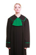 female lawyer attorney wearing classic polish black green gown - 60220087
