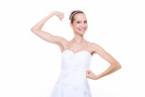 Girl bride shows her muscles strength and power